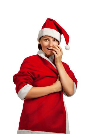 Pretty Santa Helper isolated over white background photo