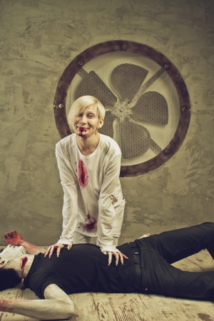 rampage: Bloody mad girl with dead body