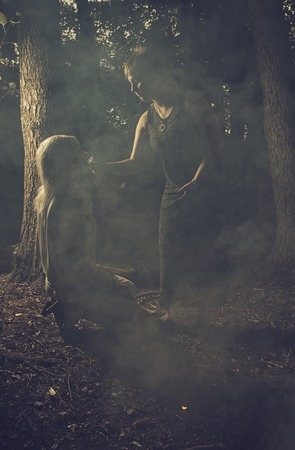 sabbath: Wicked witches drinking blood in the forest