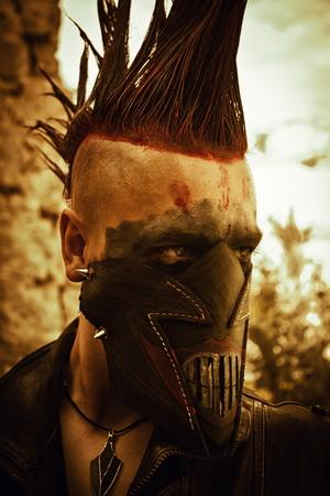 raider: Merciless raider in horrible leather mask