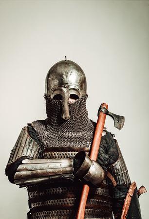 Heavy armored medieval russian warrior. Late medieval. Kievan Rus. 1290-1340 years. Appearance based on burial of sotnik of Grand Prince of Kiev. Stok Fotoğraf