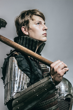Heavy armored medieval russian warrior. Late medieval. Kievan Rus. 1290-1340 years. Appearance based on burial of sotnik of Grand Prince of Kiev. Stock Photo