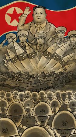 北朝鮮軍のポスター。北朝鮮の国旗をめぐって軍の後ろで敬礼する金正恩。 写真素材
