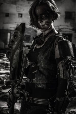 Chica con armadura de páramo posando sobre ruinas