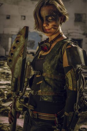 Girl in wasteland armor posing over a ruins