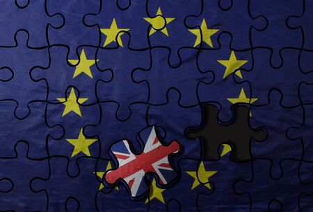 Brexit concept. Illustration of puzzle from EU flag with puzzle piece with Great Britain flag.