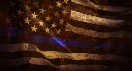 Thin Blue Line Wavy American Flag in Support of Police and Law Enforcement with grunged texture Reklamní fotografie