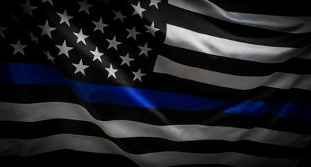 Thin Blue Line Wavy American Flag in Support of Police and Law Enforcement