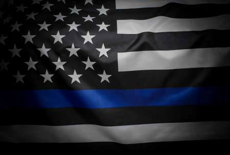 Thin Blue Line Wavy American Flag