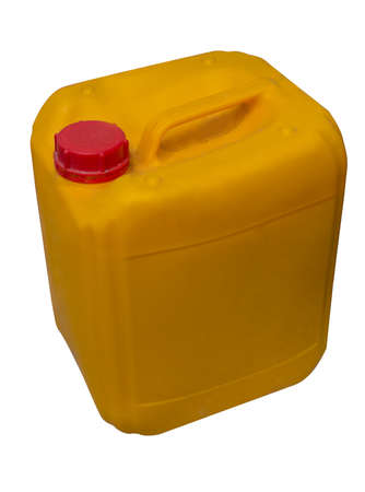 Yellow plastic canister isolated on white background
