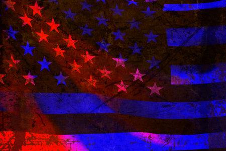 Closeup of Thin Blue Line American Flag.