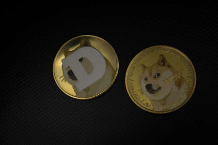 Dogecoin cryptocurrency laying on a laptop in soft light