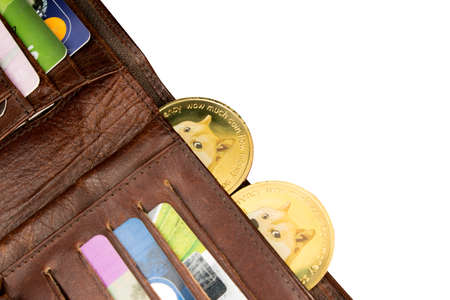 Dogecoins in a wallet isolated over white