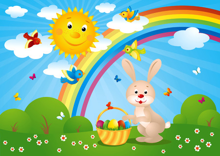 illustration of an easter card with happy bunny carrying eggs.  Vector
