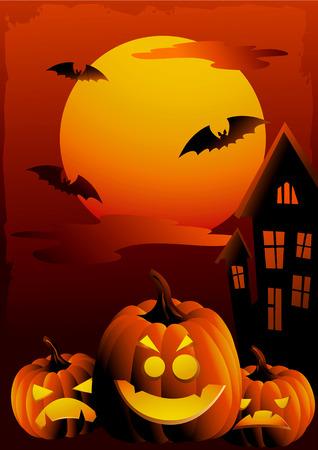 Halloween sunset illustration Vector