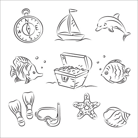 treasure hunt: Scuba Diving Sketch Set  Illustration