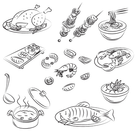 crab meat: Vector Sketch Collection of meat food