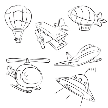 airship: Sketched Types of Air Transport  Illustration