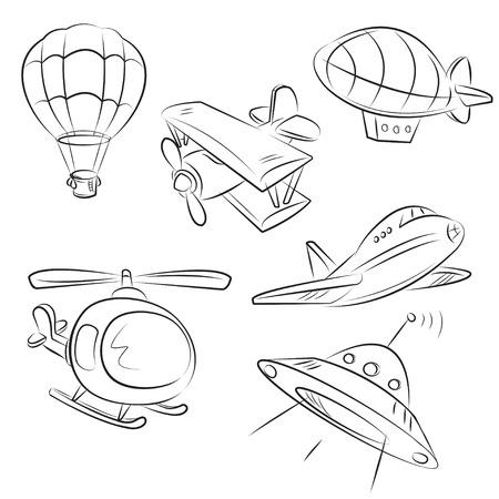 luftschiff: Skizzierte Typen des Luftverkehrsabkommens
