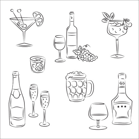 alcoholist: Set van schetsen & quot, alcoholhoudende dranken en cocktails & quot,