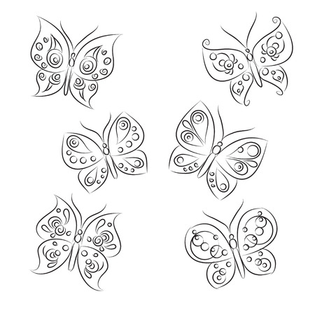 hand drawn wings: Set of sketches &quot, Beautiful Butterflies&quot,