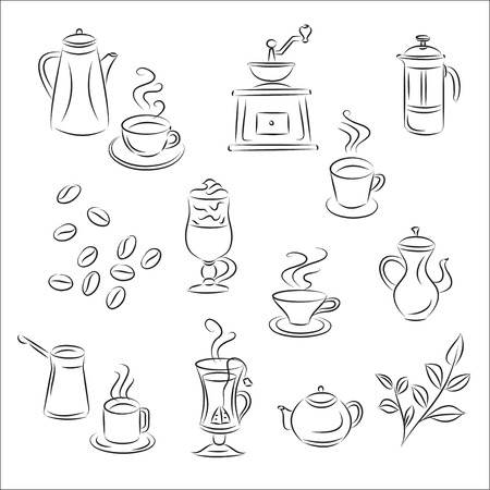 grinder: Conjunto de sketches & quot, caf� y t� & quot,  Vectores