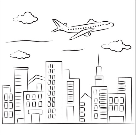 stylistic: Plane over the city