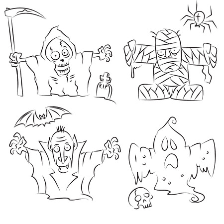 Funny Halloween Characters  Vector