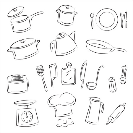 pots pans: Kitchenware  Illustration