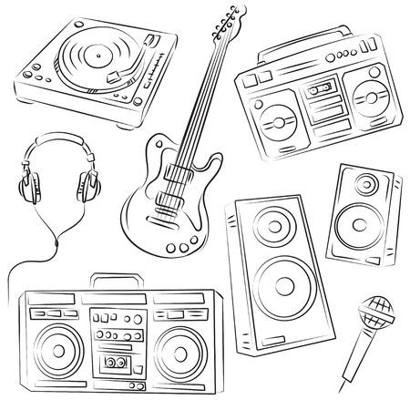 auriculares dj: Conjunto de m�sica Sketch