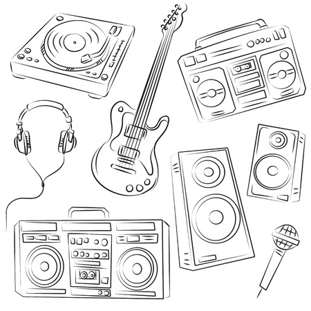 dj headphones: Music Set Sketch  Illustration