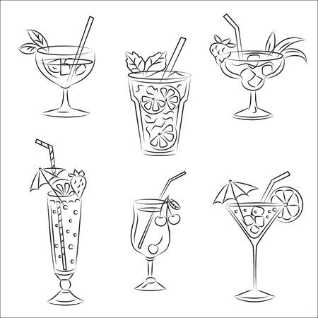 Set of sketches &quot, Party cocktails&quot,  Vector