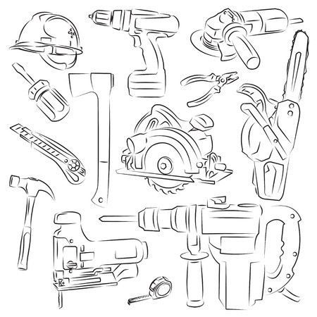 power saw: set of construction tools