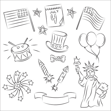 4th Of July Sketch Set Royalty Free Cliparts Vectors And Stock