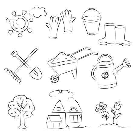 regando el jardin: Conjunto de esbozo de jardiner�a