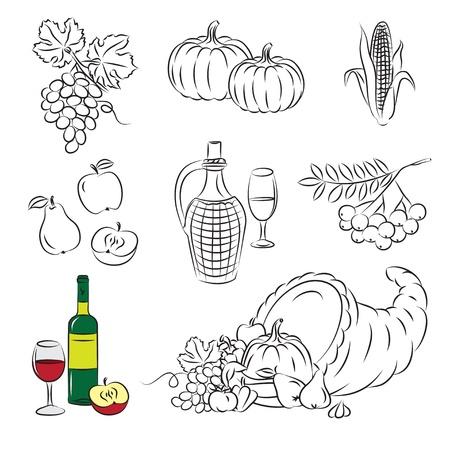cuerno de la abundancia: cosecha del oto�o  Vectores