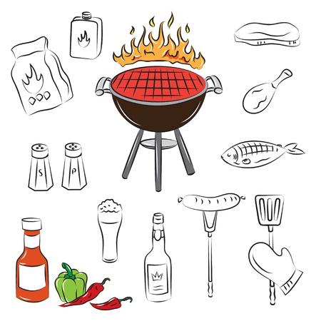 Elementi di vettore barbecue party  Vettoriali