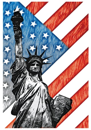 american history: Staue of Liberty with American Flag