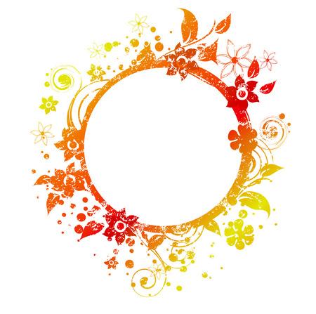 Frame rotondo decorato con grunge texture ed elementi floreali in colori autunnali