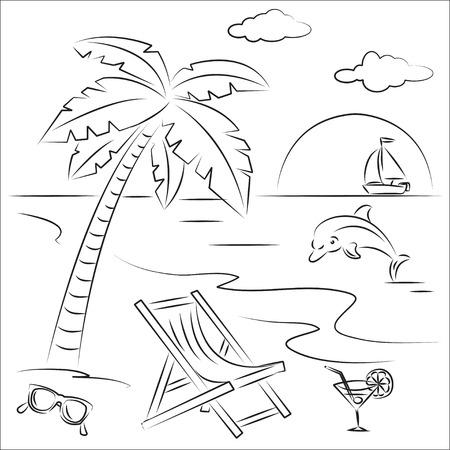 Ilustración vectorial de vacaciones en la playa  Ilustración de vector