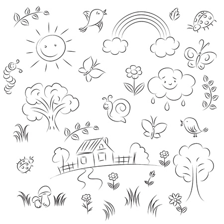 sketch: zomer schets instellen  Stock Illustratie