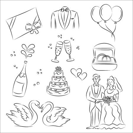 Wedding Sketch Set  Vector