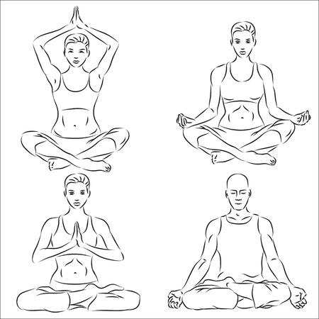 composure: Set di sketch di yoga  Vettoriali