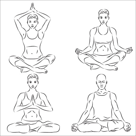 Yoga sketch set  Vector