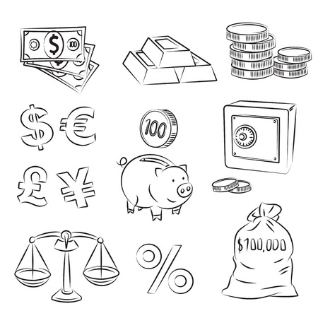 Bag of gold coins: Money Sketch Set  Hình minh hoạ