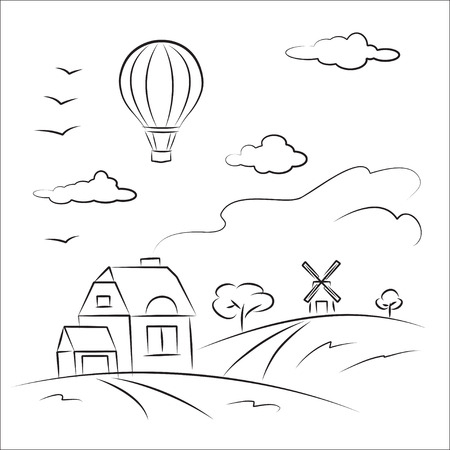 Balloon over the country Stock Vector - 8703793