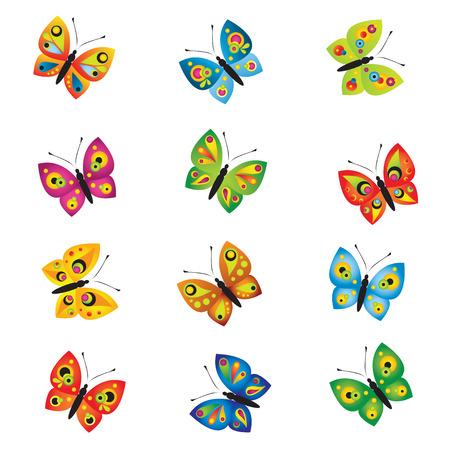 tekening vlinder: Vlinders Stock Illustratie