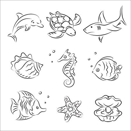바다 생명 벡터 스케치 세트