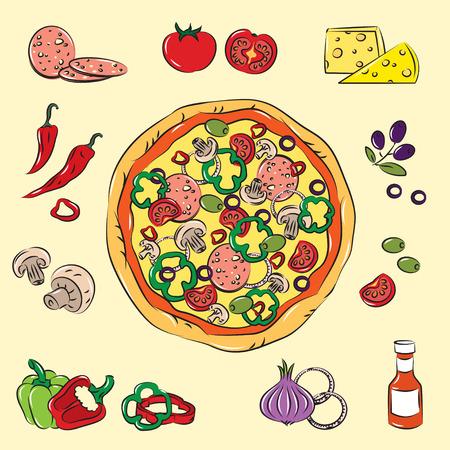 pepper salami: Colorful Pizza  Illustration