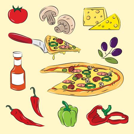 pepperoni: Pizza  Illustration